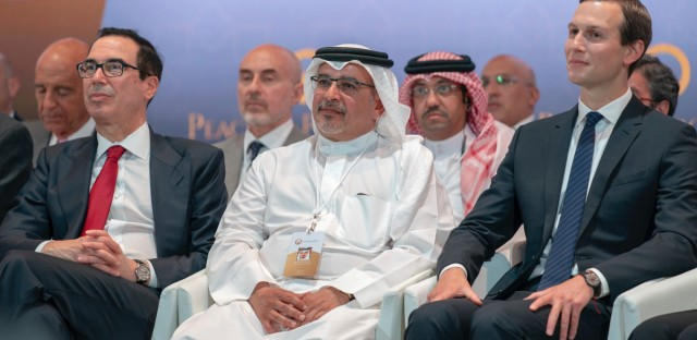 """In this Tuesday, June 25, 2019, photo released by Bahrain News Agency, from left to right, U.S. Treasury Secretary Steven Mnuchin, Bahrain Crown Prince Salman bin Hamad Al Khalifa and White House senior adviser Jared Kushner attend the opening session of the """"Peace to Prosperity"""" workshop in Manama, Bahrain. Amid heavy skepticism and deep doubts about prospects for success, the Trump administration on Tuesday was convening an international conference to promote its ambitious but heavily criticized $50 billion economic support plan for the Palestinians"""