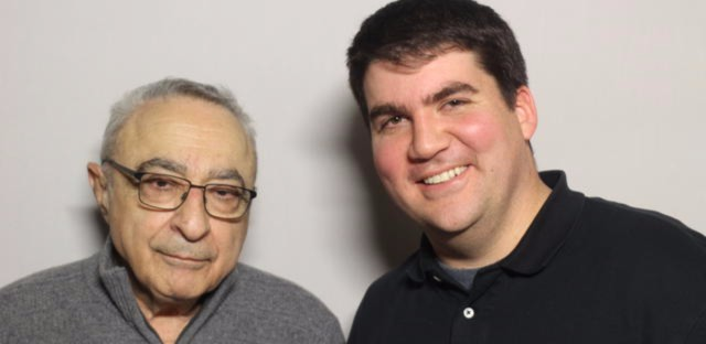 Longtime Chicago Tribune reporter Ron Grossman (on left) came to the StoryCorps booth at the Chicago Cultural Center. Grossman is pictured here with WBEZ StoryCorps producer Bill Healy.