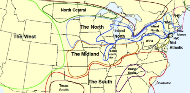 The Inland North, as defined in the Atlas of North American English.