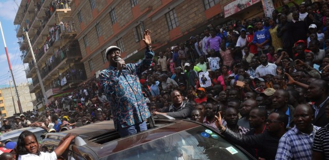 """Kenyan opposition leader Raila Odinga arrives in Nairobi's Mathare district to speak with supporters Sunday. According to official results, Odinga was defeated by President Uhuru Kenyatta — but Odinga has decried those results as a """"fraud."""""""