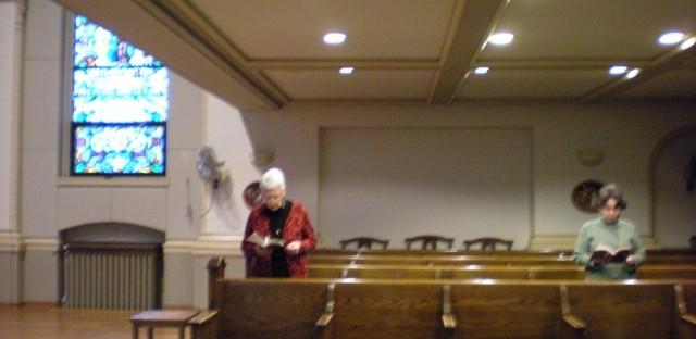 Sister Patricia Crowley at prayers at St. Scholastica.