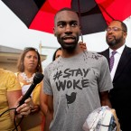 Black Lives Matter activist DeRay Mckesson talks to the media after his release from the Baton Rouge jail in Baton Rouge, La. on Sunday, July 10, 2016. Mckesson, three journalists and more than 120 other people have been taken into custody in Louisiana over the past two days, authorities said Sunday, after protests over the fatal shooting of an African-American man by two white police officers in Baton Rouge.