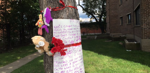 A letter and mementos left for Nykea Aldridge. The cousin of Chicago Bulls star Dwyane Wade was shot to death not far from the tree.