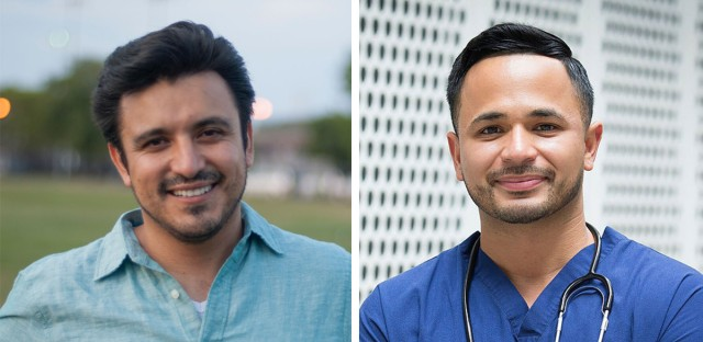 Byron Sigcho-Lopez (left) and Alex Acevedo (right) topped the field of candidates running in Chicago's 25th Ward aldermanic race Tuesday.