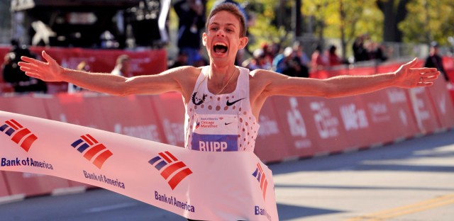 Galen Rupp of the United States wins the 2017 Bank of America Chicago Marathon Sunday, Oct. 8, 2017, in Chicago. It is the first time since 2002 an American has won the men's Chicago Marathon.