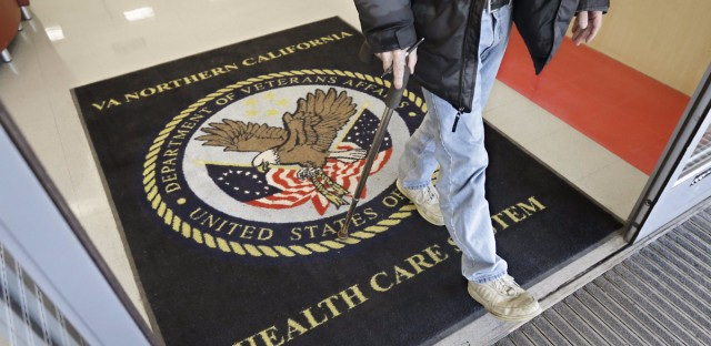 Congress passed a bill aimed at overhauling the Department of Veterans Affairs. In this April 2015 file photo, a visitor leaves the Veterans Affairs medical center in Rancho Cordova, Calif.