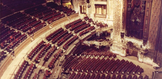 A photo from June 1990 shows the interior of the Uptown Theater. Click to enlarge.