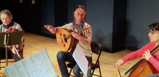 Iraqi American composer and musician Rahim AlHaj, center, rehearses in Dearborn, Mich., Thursday, March 23, 2017. He composed a series of pieces based on the letters of eight Iraqis sharing personal tales during wartime.