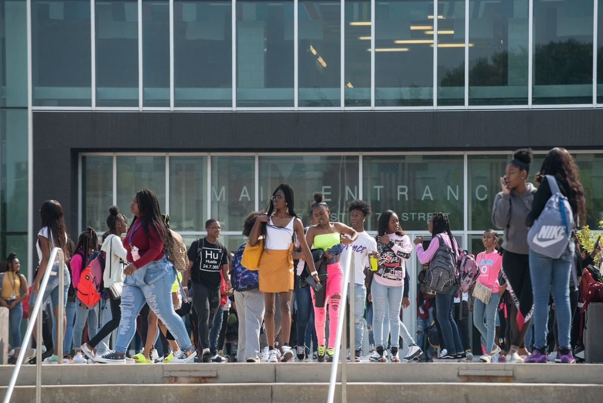 Chicago Public Schools has opened three new test-in schools since 2009. None have many white students. Hancock College Prep, on the left, is almost all Latino. South Shore International, on the right, is almost all black.