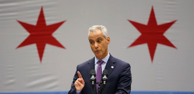 Chicago Mayor Rahm Emanuel delivers his new public safety plan to combat gun violence for the nation's third-largest city at the Malcolm X Community College Thursday, Sept. 22, 2016, in Chicago.