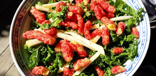Is it ok to feed kids Flamin Hot Cheetos on a kale salad?