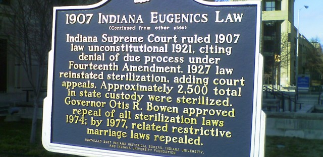 Indiana Eugenics Marker in Indianapolis by Statehouse
