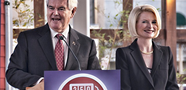 Newt Gingrich and his wife Callista campaigning in Louisiana in March.