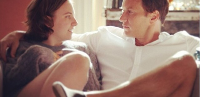 """Girls"" star Lena Dunham and Patrick Wilson in a still from the episode ""One Man's Trash."""