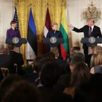 Left to right: Latvian President Raimonds Vejonis, Estonian President Kersti Kaljulaid, Lithuanian President Dalia Grybauskaite and U.S. President Donald Trump, hold a joint news conference in the East Room of the White House Tuesday.