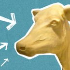 A butter cow on a blue background with hand-drawn white arrows pointing at it