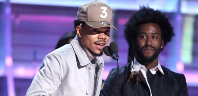 "Chance the Rapper accepts the award for best rap album for ""Coloring Book"" at the 59th annual Grammy Awards in Los Angeles on Feb. 12, 2017."