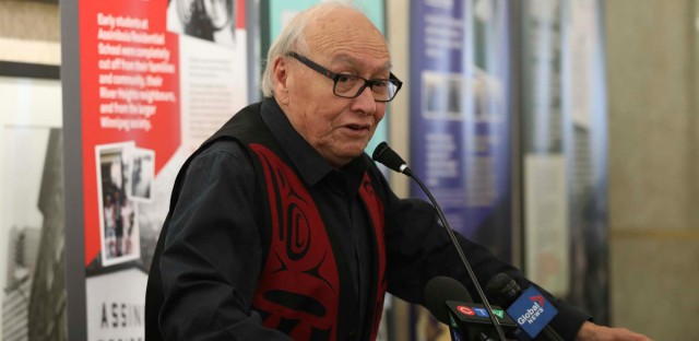 Assiniboia Residential School survivor Theodore Fontaine speaks at the Unveiling of the Assiniboia Residential School display on the Main floor of the Susan A. Thompson Building Monday.