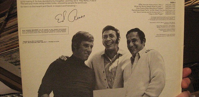Hal David, right, with Burt Bacharach, middle, and Ed Ames, center.