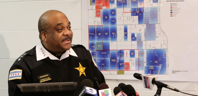 Chicago Police Superintendent Eddie Johnson speaks at a news conference on Wednesday, unveiling new high-tech crime-fighting strategies as the city deals with increases in homicides and gang violence. Supt. Johnson also released crime figures that show there were 51 homicides during January, or a 1 percent increase over last year.