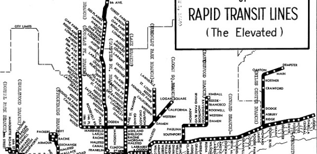 Chicago 'L' map, 1940