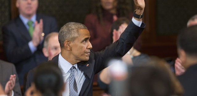 President Barack Obama waves after addressing the Illinois General Assembly, Wednesday, Feb. 10, 2016, at the Illinois State Capitol in Springfield, Ill. Obama returned to Springfield, the place where his presidential career began, to mark the ninth anniversary of his entrance in the 2008 presidential race.
