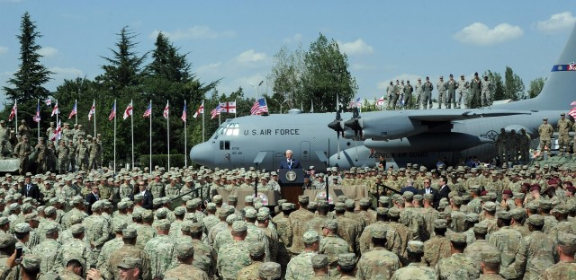 Pence addresses U.S. and Georgian troops participating in the joint multinational military exercise at an airbase outside Tbilisi on Tuesday.