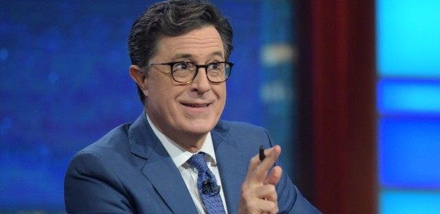 """For Stephen Colbert, taking over as host of The Late Show was not a hard decision. """"I love a live audience,"""" he says. """"I love the grind of every day and I love the people I work with."""""""