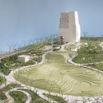A rendering of the planned Obama Presidential Center and museum in Jackson Park, on Chicago's South Side. The presidential museum is the vertical structure at the far end: a tower 235 feet high, according to current plans. It's meant to symbolize a journey of ascension and hope.