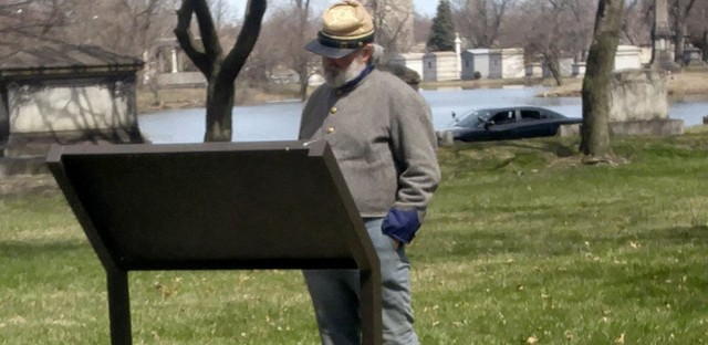 Man dressed as confederate soldier