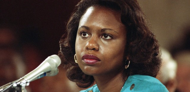 This 1991 photo shows University of Oklahoma law professor Anita Hill testifying before the Senate Judiciary Committee on Capitol Hill in Washington.