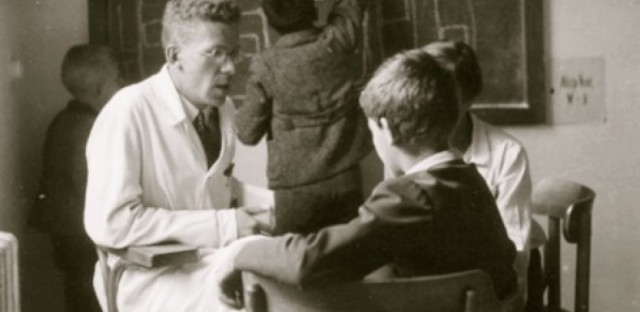Hans Asperger and children at the University of Vienna, 1930s.