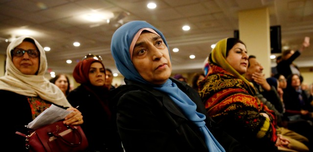 Members of Islamic Foundation, listen to Illinois U.S. Sen. Dick Durbin speak at the foundation in Villa Park, Ill. on Feb. 5, 2017.