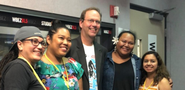 """Not One Batu"" (L-R) playwright Hannah Ii-Epstein and actors, Marie Tredway (Honey Girl), Lelea'e ""Buffy"" Kahalepuna-Wong (Ma), and Gloria Alvarez (Sherrie) at the WBEZ studio"
