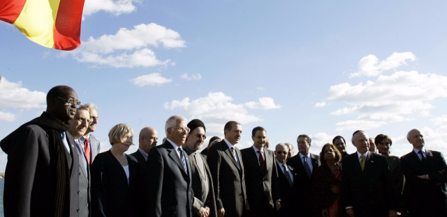 Members of the Alliance of the Civilizations pose for a group picture during an Alliance of the Civilizations summit in Palma de Mallorca, Spain, Sunday Nov. 27, 2005. On the summit agenda are discussions regarding global conflicts like poverty and international terrorism. Standing center left is Turkish Prime Minister Recep Tayyip Erdogan and center right is Spanish Prime Minister Jose Luis Rodriguez Zapatero.