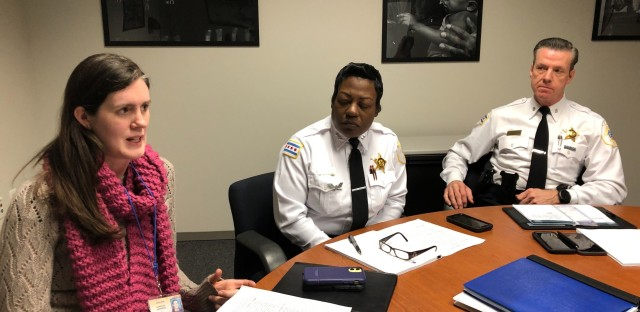 Chicago Police Department Office of Reform Management Director Christina Anderson (left), Chief of Organizational Development Barbara West and Office of Reform Management Commander Daniel Godsel