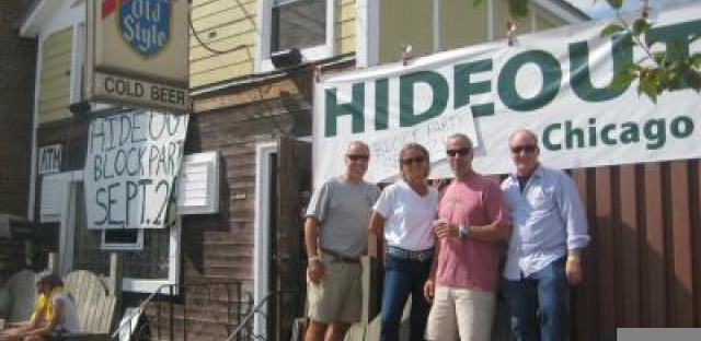 Jim Hinchsliff, Katie Tuten, Mike Hinchsliff, Tim Tuten outside of The Hideout