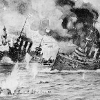 This painting depitcs the destruction of Russian warships by the Japanese fleet in bombardment with heavy guns during the Russo-Japanese War of 1904 and 1905.