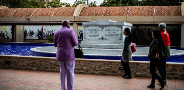 <p>The current election in Georgia could bring the state to a crossroads. Here, people come to remember MLK at the Martin Luther King, Jr. National Historical Park.</p>