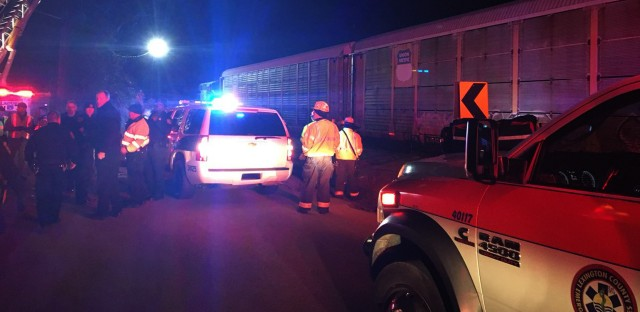 Emergency responders work at the scene of a crash between an Amtrak passenger train and in Cayce, S.C. The crash left at least two people dead and dozens injured.