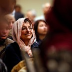 Members of Islamic Foundation listen to Illinois U.S. Sen. Dick Durbin address President Donald Trump's executive order to ban Syrian refugees and visitors from seven Muslim countries in Villa Park, Ill., on Sunday, Feb. 5, 2017.