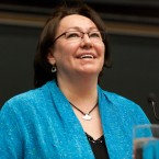Sheila Watt-Cloutier during a lecture at York University's 50-50 Symposium.