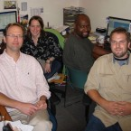 An old photo of the Worldview team. From left to right are Jerome McDonnell, Andrea Wenzel, Steve Bynum and Tom Gaulkin.