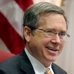In this June 9, 2014 file photo, U.S. Sen. Mark Kirk R-Ill., speaks during an interview at his office in Chicago.