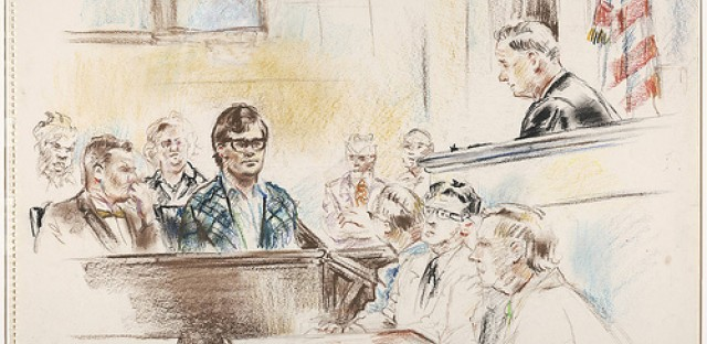 A pastel drawing of court reporters