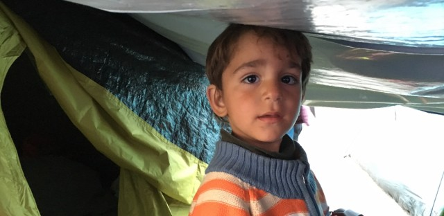 Young child from a family from Damascus of patents and 6 children the youngest was 2 weeks. The family sold their house and spent all their life savings in the trip