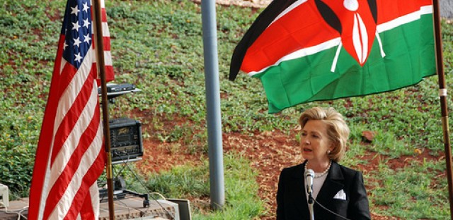 Sec. of State Hillary Clinton speaks in Kenya in 2009