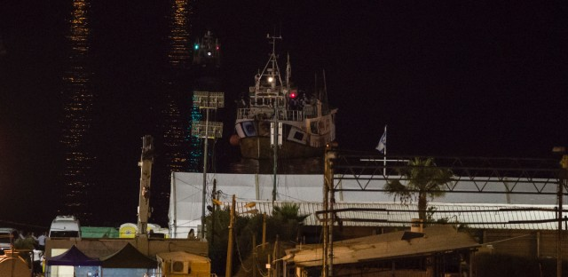 A boat bound to Gaza Strip intercepted by Israeli navy arrives to Ashdod port, Israel, Sunday, July 29, 2018. Israel's navy intercepted a ship carrying activists en route to Gaza in an attempt to break a blockade on the coastal territory ruled by the Islamic militant group Hamas, the military said.