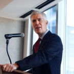 10th U.S. Circuit Court of Appeals Judge Neil Gorsuch makes a point while delivering prepared remarks before a group of attorneys last Friday at a luncheon in a legal firm in lower downtown Denver.