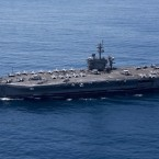 The USS Carl Vinson, seen here earlier this month, is taking part in exercises with Japanese ships in the Philippine Sea.